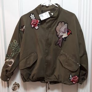 NWT Cargo jacket with embroidered patches